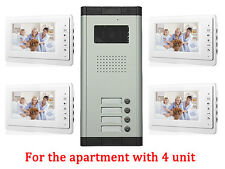 Apartment 4 Unit Intercom Entry System Wired Video Door Phone Audio Visual