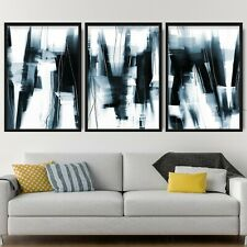 More details for 3 abstract black & navy art prints from original textured painting mix size v1