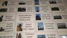 50 World Historic Landmarks Laminated Flashcards.  Geography, History, education