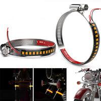 2X Amber LED Fork Turn Signal Light Strip Motorcycle Street Bike Indicator Lamps