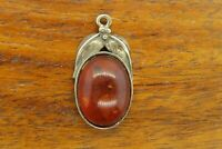 Vintage sterling silver ANTIQUE LEAF BALTIC HONEY AMBER PENDANT charm