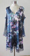 Komarov Charmeuse Cold Shoulder Floral Dress Chiffon Sleeve M NWT