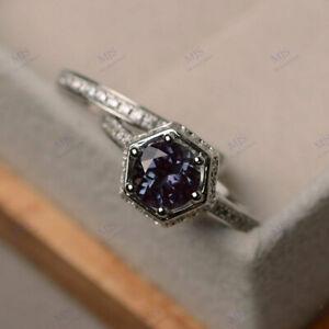 7 mm Round Shape Alexandrite Art Deco Engagement Ring Set 18K White Gold Finish