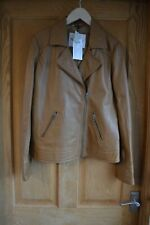 Ex La Redoute Camel Brown Faux Leather Look Jacket Coat Size 8