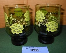 2 Vintage Green Glass FLORAL Design Juice Drink TUMBLERS Footed CUTE