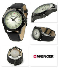 WENGER SWISS MILITARY GREEN DIAL DATE BLACK LEATHER STRAP MEN'S WATCH 70474 NEW