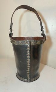 rare antique 1700's handmade copper riveted leather English fire fighter bucket