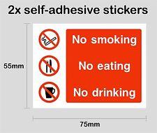 NO SMOKING EATING DRINKING 1 - 2x printed self-adhesive stickers - PRNT1003