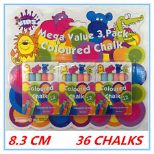 36 X ASSORTED COLOURS WASHABLE COLOURED CHALK CHALKS MEGA VALUE KID CRAFT PARTY