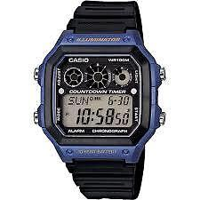 CASIO AE-1300WH-2A BLACK / BLUE WATCH FOR MEN - COD + FREE SHIPPING