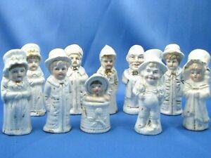 10 Antique Porcelain Kate Greenaway Salt & Pepper Shakers Set of 10