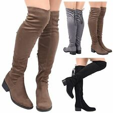 WOMENS LADIES THIGH HIGH OVER THE KNEE LACE UP BACK TASSEL SHOES BOOTS SIZE NEW