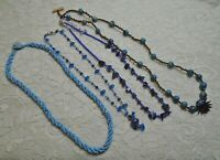 VINTAGE ASSORTED BLUE GLASS SEED & STONE BEADED BOHO NECKLACE LOT