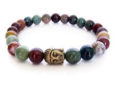Handmade Semi Precious Stone Bracelet w/ Indian Agate Beads & Brass Buddha Head