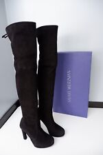 Stuart Weitzman Black Suede Leather Boots 37.5 Uk 4.5 Over Knee £750 Highland