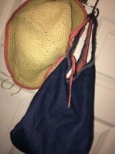2pc Picnic Beach Outing Set Straw Hat+Denim Purse Red White Gingham Lined
