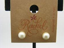 $8 Rachel Inc. 8 mm Pearl Creamy White Perfectly Round Stud Post Earrings SET