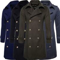 Mens Military Wool Double Breasted Trench Coat Overcoat  Casual Jackets 2020