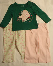 12 Month Carters Pants Pink Floral Garanimals Green Long Sleeve Shirt NWT
