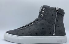 $600 MCM Light Dark Gray High Tops Leather Sneakers size US 8 Made in Italy