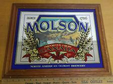Molson Beer Used Bar Mirror Man Cave Sign Canadian Ducks Canada Wood Frame