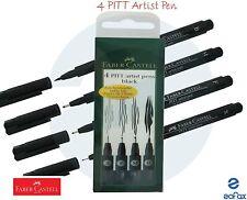 FABER-CASTELL - PITT ARTIST - 4 PEN SET - BLACK INDIA  INK Fast Postage (New)