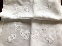 VINTAGE HAND EMBROIDERED WHITE LINEN TABLECLOTH 36X36 Inches