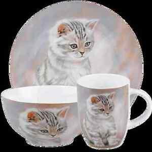 3 tlg.  Kindergedeck Könitz Getigertes Kätzchen Tasse Teller Müslischale Karton