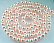 100PCS 8mm Glass Pearl Beads Light Pink/Rosaline Color Round DIY Imitation Pearl