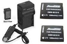 2 Batteries+Charger for Panasonic DMC-TZ8S DMC-TZ8K DMC-TZ10 DMC-TZ10S DMC-TZ10K