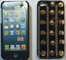 COVER CUSTODIA RIGIDA PER APPLE IPHONE 5 COLORE NERO E BORCHIE DORATE