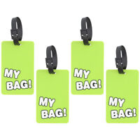 "Four Green Luggage Tags Silicone ""My Bag!"" Duffel Suitcase 4 Fun Travel Tags"