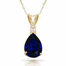 3.05 CT Blue Sapphire Pear Shape 2 Stone Gemstone Pendant & Necklace 14K Y Gold