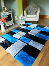 Small - X Large Thick Silk Hand Carved Luxurious Bright Shaggy Soft Area Rug 90x150cm (3x5') Black Silver Blocks