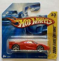 2008 Hotwheels Ferrari FXX Race Car first editions Red European Short Card MOC!