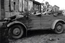 WWII Photo German Kubelwagen and Soldiers  WW2 B&W World War Two  / 2175