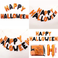 "16"" Black&Orange Balloons Happy Halloween Balloon Foil Letter Home Party Decor"