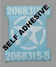 Tri-ang Vintage Jeep Army Graphics Self Adhesive Just Peel and stick