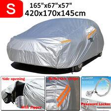 Small Full Sedan Car Cover 190T Waterproof Dust Rain Resistant Protector Silver