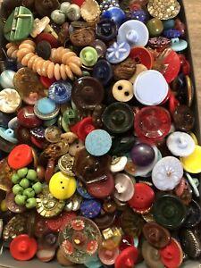 Fantastic Vintage 2+ Lbs. Variety Buttons Lucite Bakelite Plastic Glass Lot