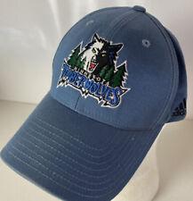 Adidas Minnesota Timberwolves Hat Cap Wolf Head Logo NBA Strapback Spellout