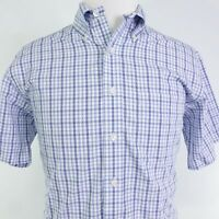BROOKS BROTHERS NON-IRON REGULAR FIT SUPIMA COTTON S/S PLAID BUTTON UP SHIRT M