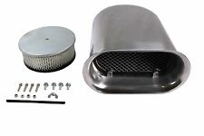 """New Polished Aluminum """"Hilborn Style"""" Smooth Hood Scoop With Single Air Cleaner"""
