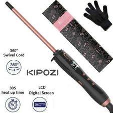 Professional Thin Curling Iron Wand Ceramic Barrel for Small Curls LCD Display
