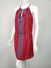 JOIE Red Crinkled Cotton Sky Blue Black Embroidered Tie Neck Dress sz M