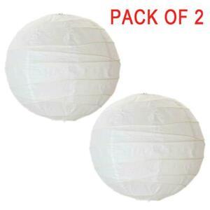 2 Pack NEW IKEA REGOLIT Pendant Hanging Lamp Shade White Rice Paper 45x45x45 cm