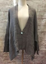 Vivid Womens Sz S Gray 100% Linen Lagenlook Art to Wear Jacket Tunic One Button