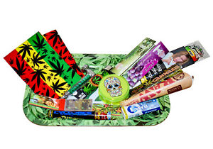 Green Leaf Metal Rolling Tray V-Syndicate For Him Men 420 Theme