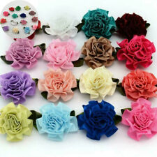 50/100pcs Satin Ribbon  Flower Carnation Appliques Craft Wedding Decoration 3CM