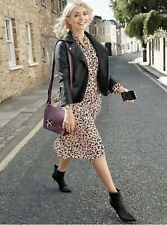 M&S Holly Willoughby Leopard Print Pink Pleated Dress Size 22